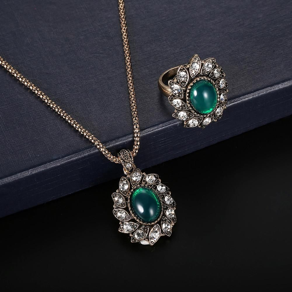 Women zircon retro necklace earrings ring wedding party bridal