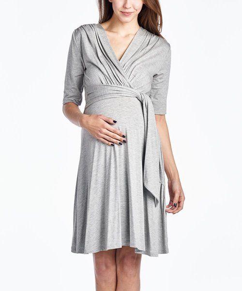 883046f7b8bd Heather Grey Hello Miz Maternity Miz Keyhole 3 4 sleeve Maternity ...
