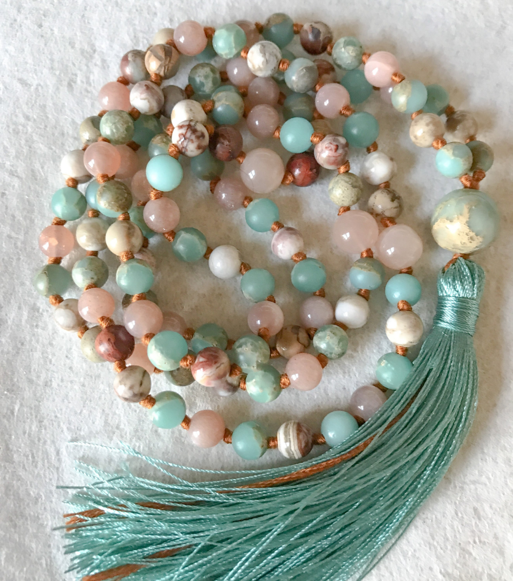 Aqua Terra Jasper Sunstone Mala Necklace, 108 Mala Beads ...