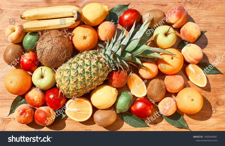 Fruit Set Pineapple Orange Kiwi Apple Stock Photo (Edit Now) 1483946081