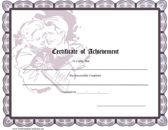 a printable certificate of achievement with a romantic