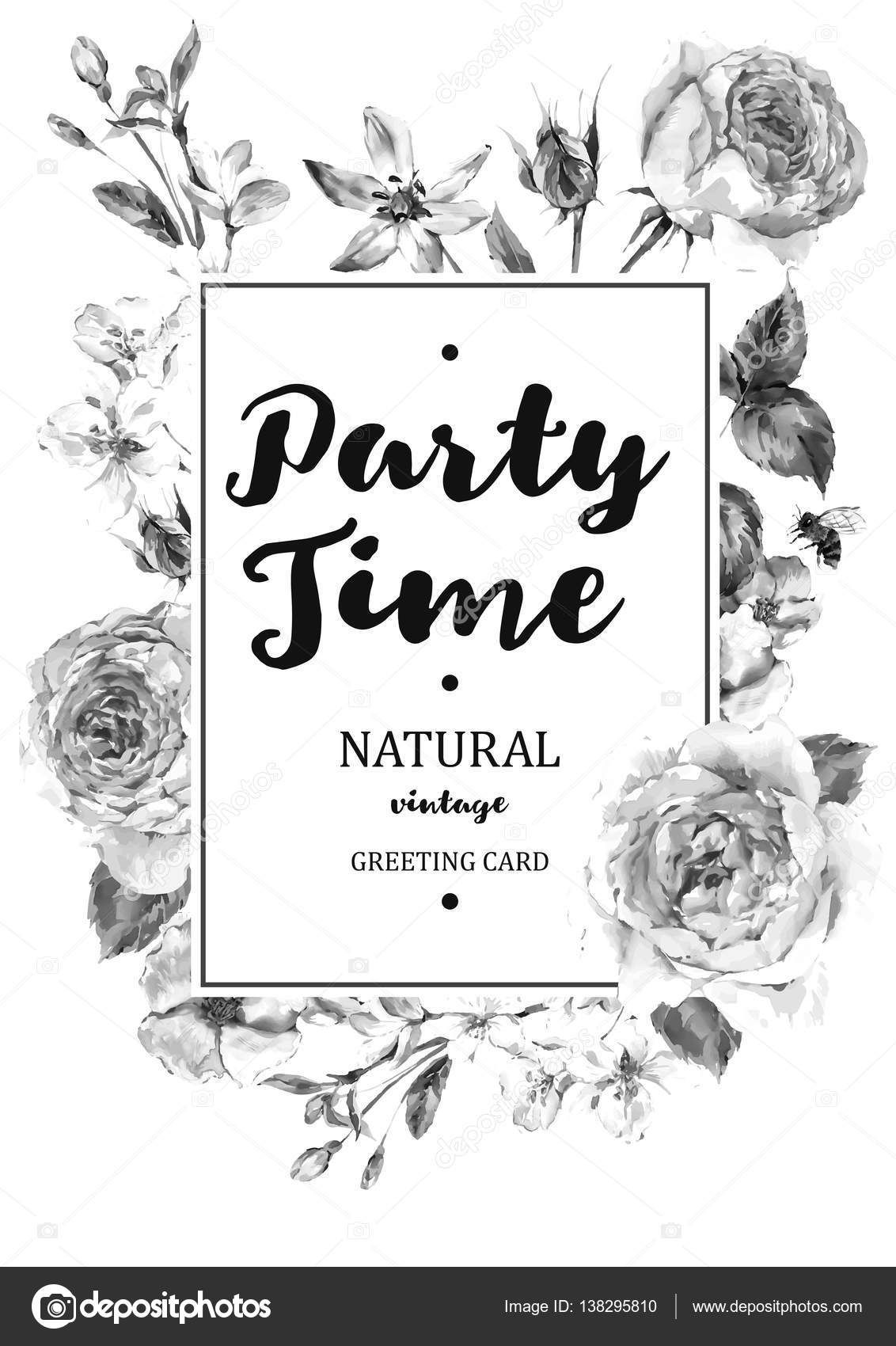 Vintage Black And White Vertical Frame Vector Card With Bouquet Of