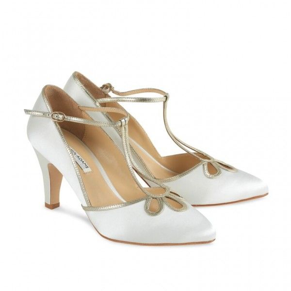 Benjamin Adams Yvonne Ivory Silk And Gold Leather Designer Wedding Shoes
