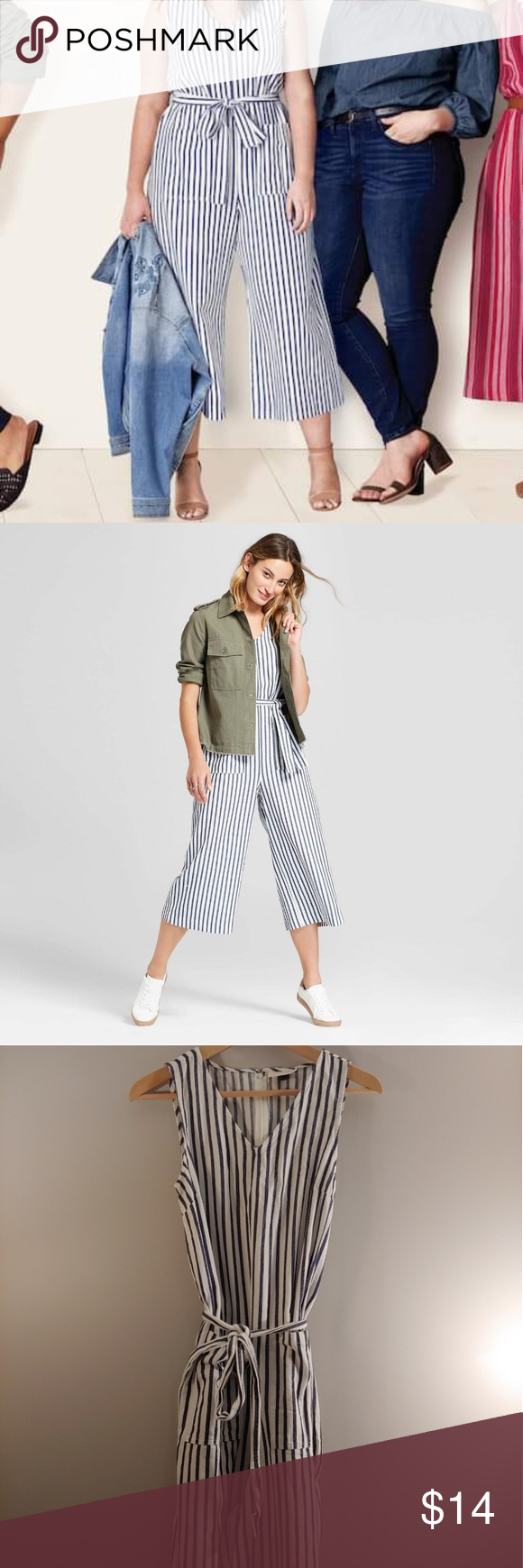 2e0d9c7ff809 Universal Thread Striped Jumpsuit Striped blue v neck jumpsuit Universal  Thread Pants Jumpsuits   Rompers