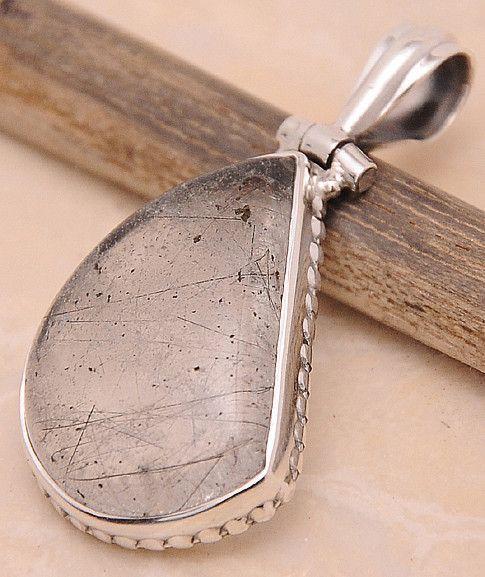 "Black Rutilated Quartz .925 Sterling Silver Jewelry Pendant 1.40"""