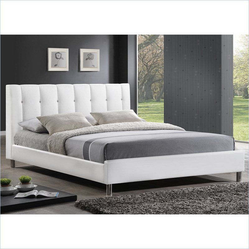 Baxton Studio Vino Platform w/Upholstered Headboard White Bed
