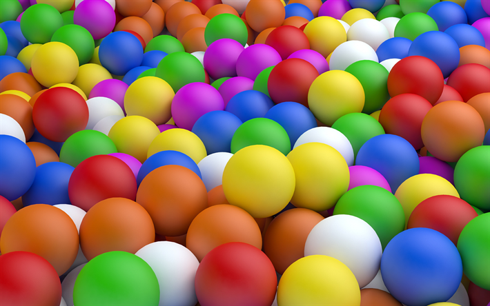 Download Wallpapers Colorful Balls 3d Balls Creative Geometric Shapes Besthqwallpapers Com In 2020 Geometric Shapes Taste The Rainbow Wallpaper