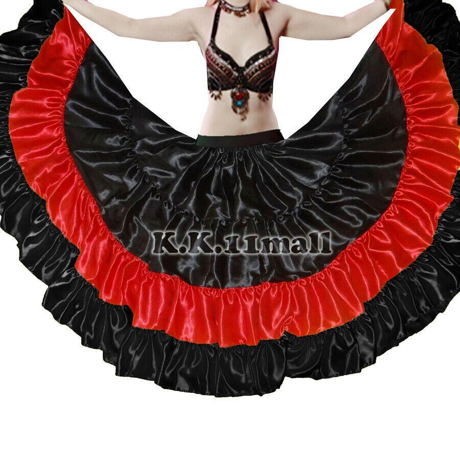 Green Satin 25 Yard 5 Tiered Gypsy Skirt Belly Dance Tribal Jupe Flamenco