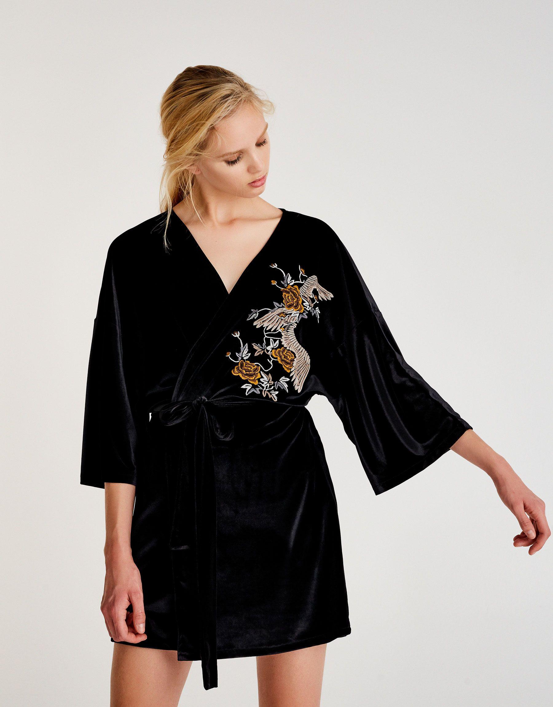 Embroidered velvet effect kimono   Coats and jackets   Clothing ...