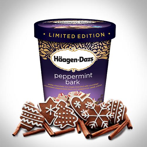 Sweet cookies and savoury Häagen-Dazs Peppermint Bark ice cream. Best. Gift. Ever. #IceCream #Peppermint #Dessert #HolidayIdeas
