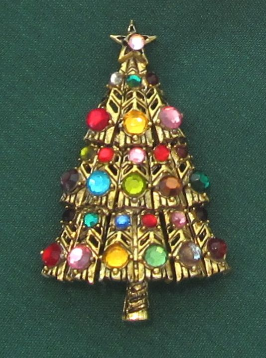 Vintage Hollycraft Christmas Tree Pin - Vintage Hollycraft Christmas Tree Pin BLING TREE MULTI Pinterest