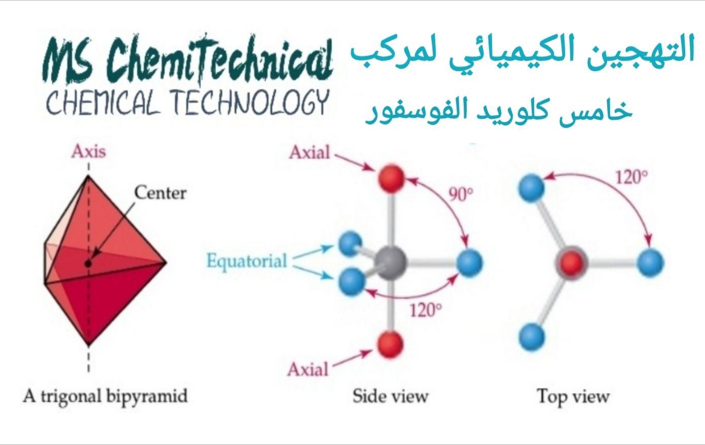 التهجين الكيميائي لمركب خماسي كلوريد الفوسفور Equatorial Side View Chemical