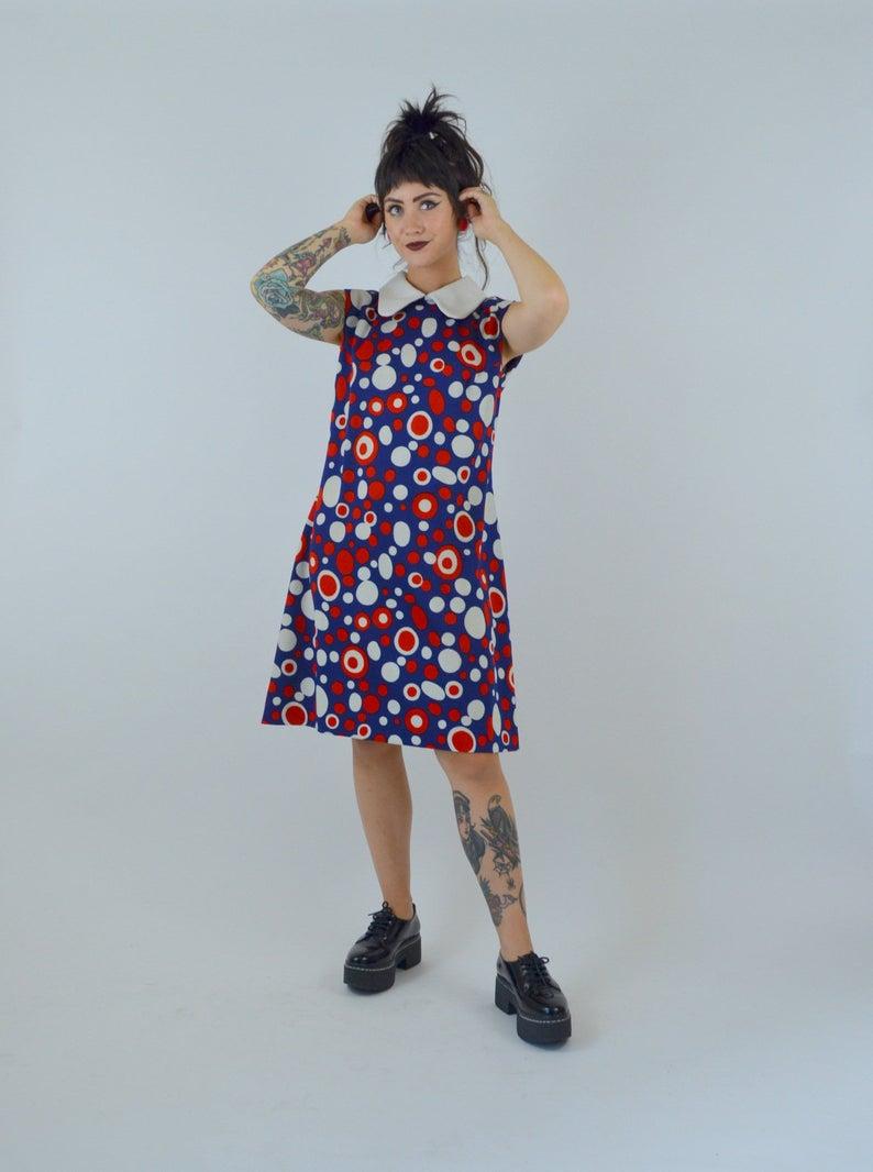 1960s Polka Dot Mod Dress Vintage Shift Dress 60s Red White And Blue Mini Medium Large Vintage Shift Dress Shift Dress 1960s Shift Dress [ 1066 x 794 Pixel ]
