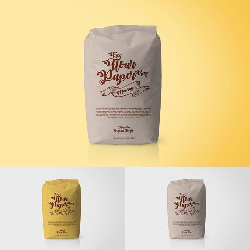 Download Free Flour Paper Bag Packaging Mockup Mockup Psd Mockup Paper Bag