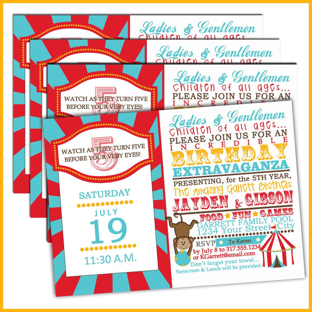 Carnival Birthday Invitations or Circus birthday invitations for ...