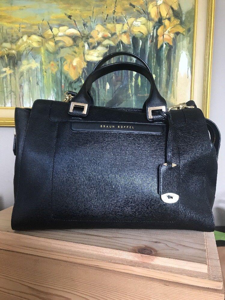 69936fac5e1f BRAUN BUFFEL Black Saffiano Leather Large Executive Handbag Satchel Tote  Strap | eBay