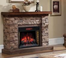 56 Stacked Stone Rustic Birch Infrared Electric Fireplace Wall Mantel Home Fireplace Fireplace Stone Electric Fireplace