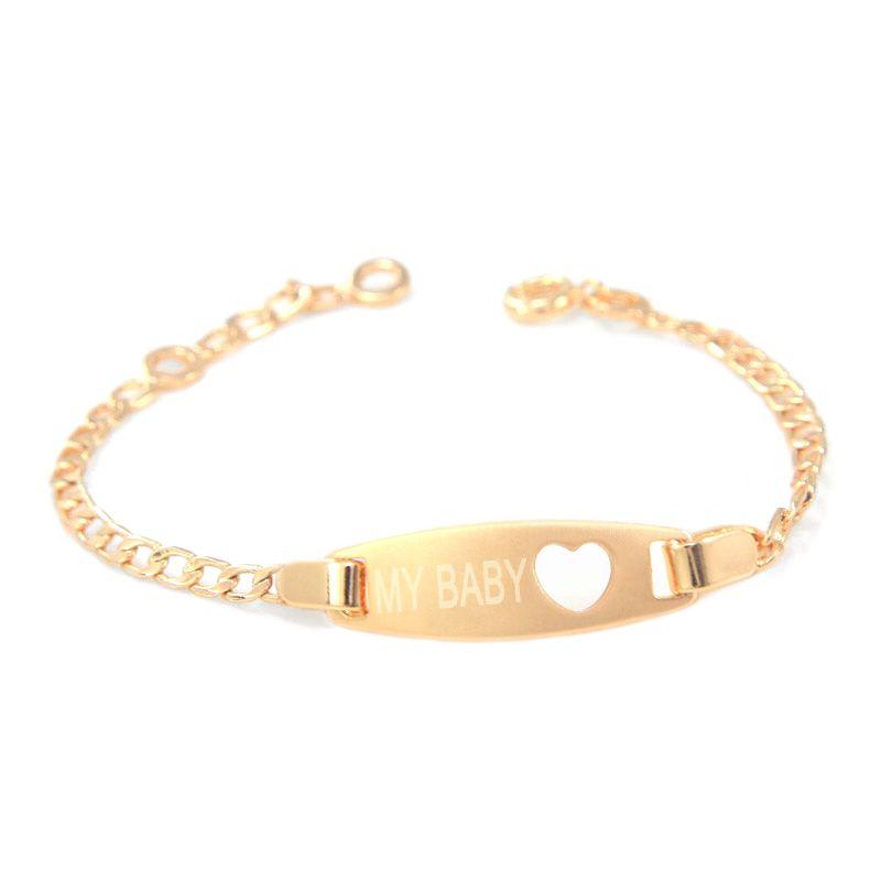 17CM Heart Kids Bracelets Baby Girl Jewelry Gold Bangle Bracelet ...