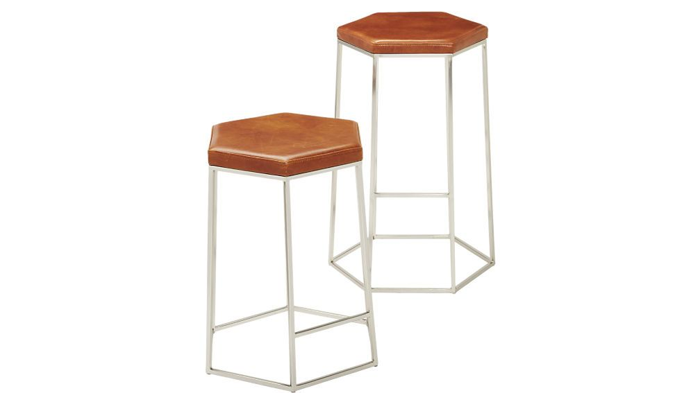 Prime Hex Brown Leather Bar Stools Counter Stools Brown Cjindustries Chair Design For Home Cjindustriesco