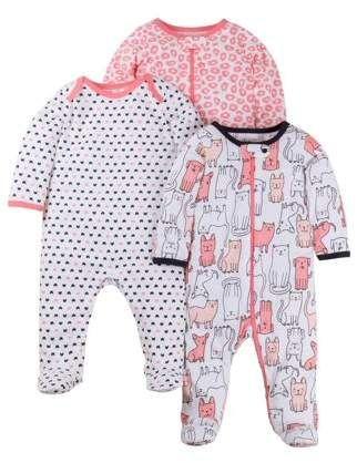1a466afc0 N. Little Star Organic Sleep 'N Play Pajamas, 3-pack (Baby Girls ...