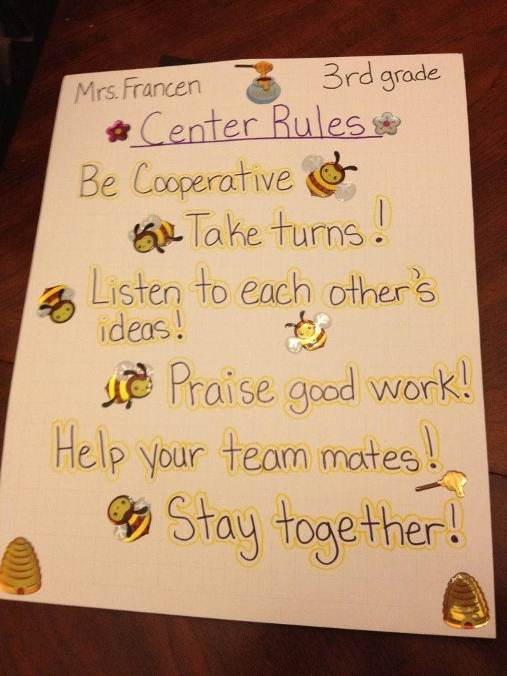 Center rules | Teaching ideas | Learning centers ...