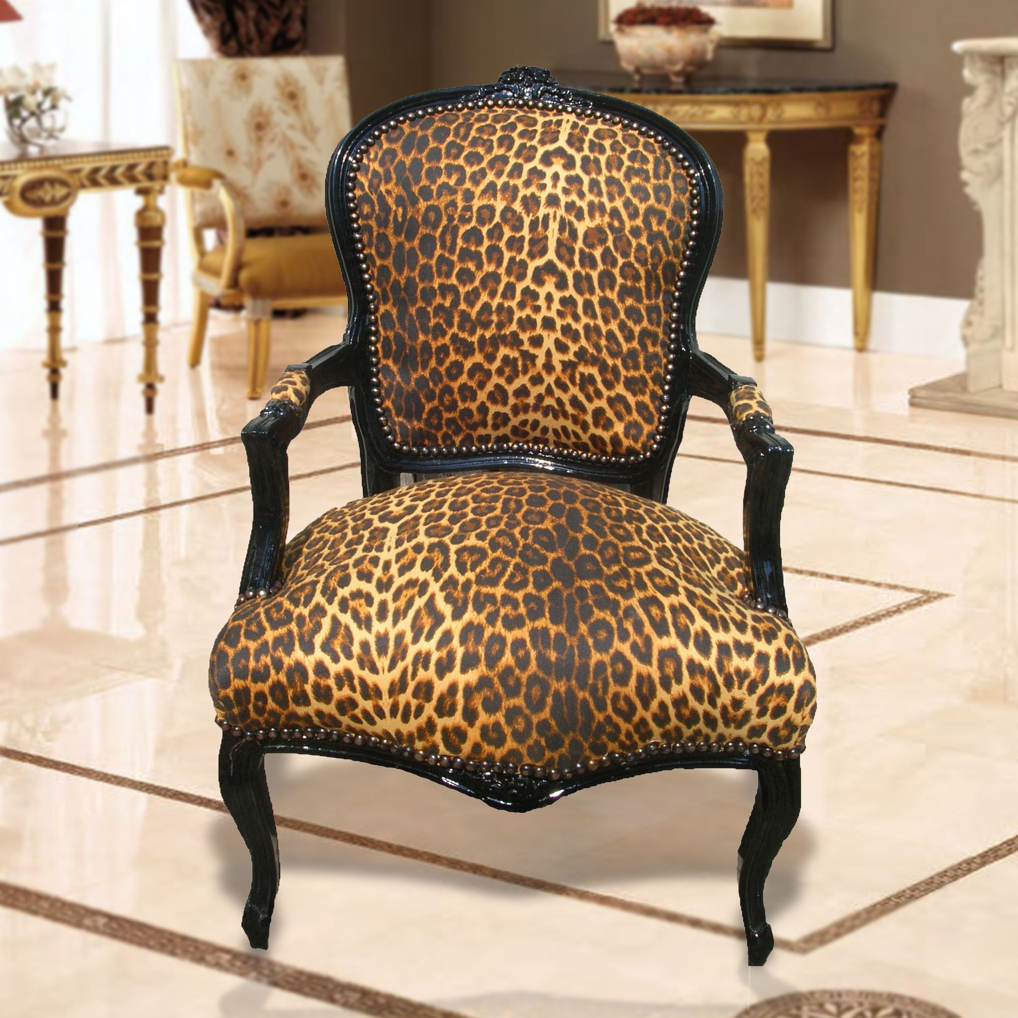 Baroque Armchair Of Louis Xv Leopard Fabric And Lacquered Black Wood Leopard Print Chair Leopard Print Decor Leopard Print Furniture