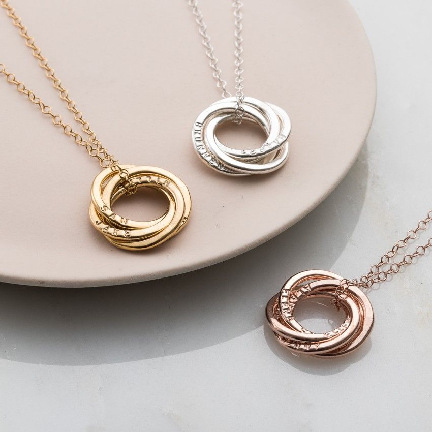Posh Totty Designs Personalised Russian Ring Necklace Rose Gold Plated - 18 Inches 88wKcXXU