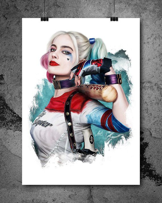 Harley Quinn, Margot Robbie, Suicide Squad, Artwork, Handmade, Printable Art, Poster, Instant Download, Digital Print, Home Decor, Wall Art. ------------------------------------------------ This offer is valid for an INSTANT DOWNLOAD for this hand-drawn artwork. Youll get only the digital