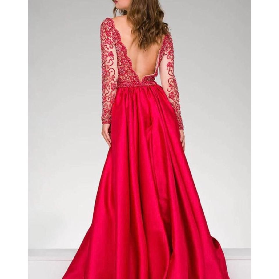 Jovani Red Embellished Ball Gown With Overskirt Formal
