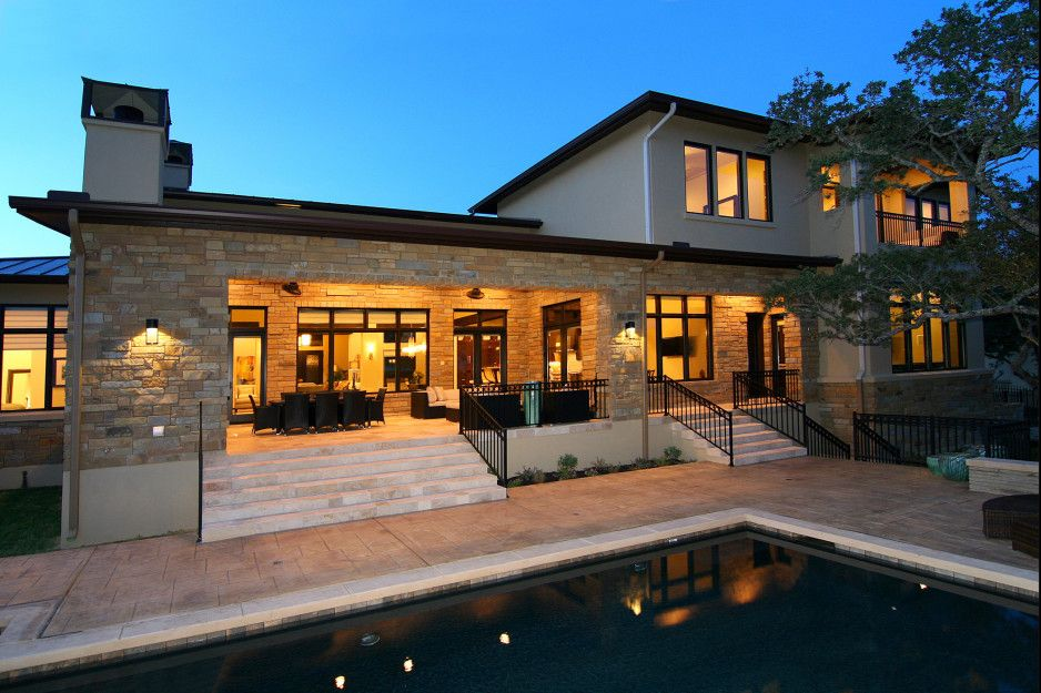 House. texas hill country custom modern stone and glass home exterior