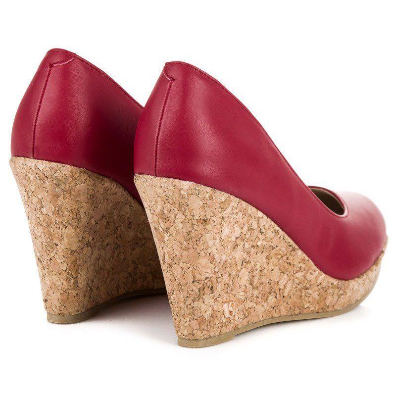 Czolenka Na Koturnie Vices Czerwone Wedges Shoes Cork Wedge