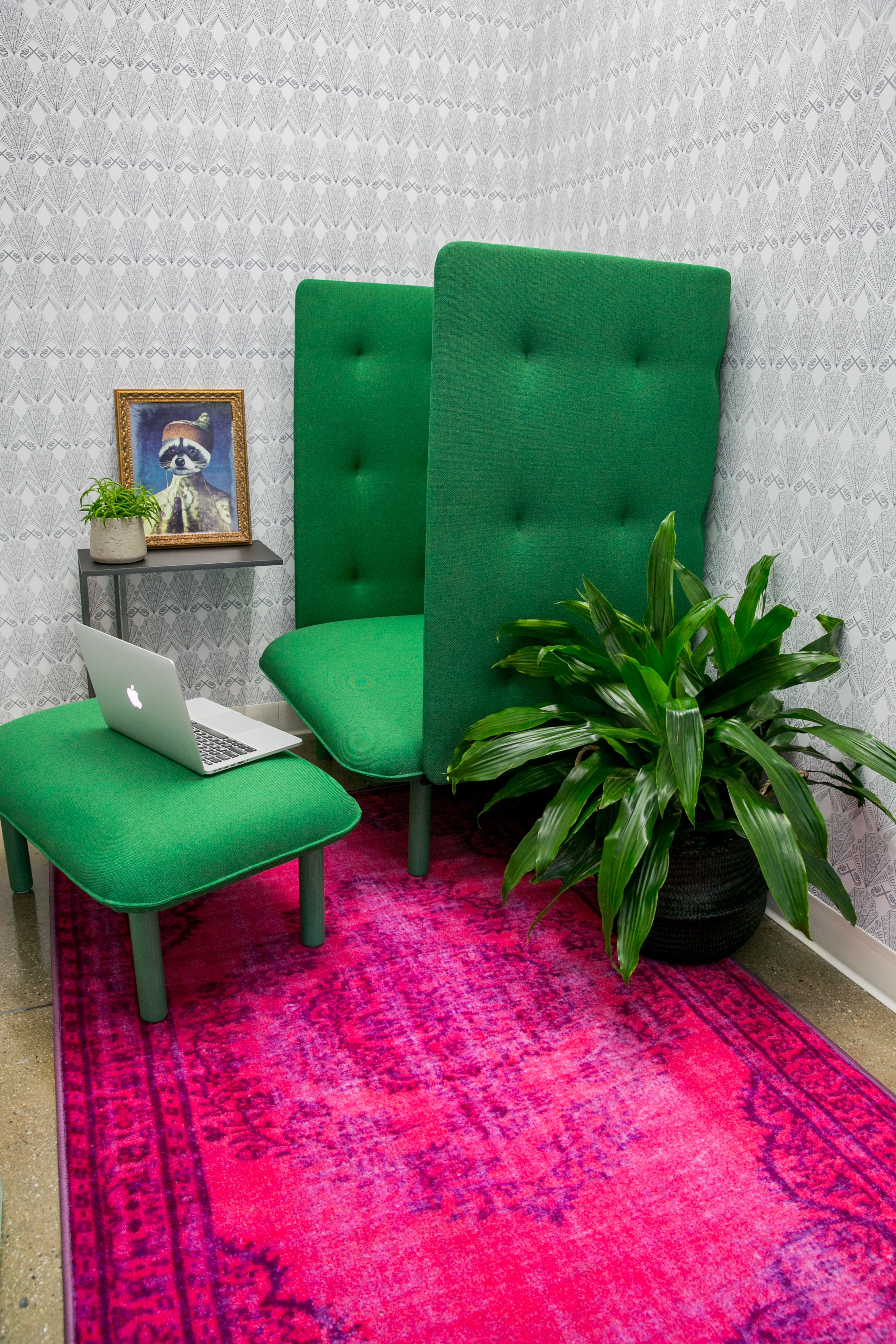 Private room for a private call lactation praying or just quite time. Green : lactation chair - Cheerinfomania.Com