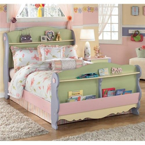 Signature Design by Ashley Doll House Full Sleigh Bed with 2 Shelves and Magazine Rack