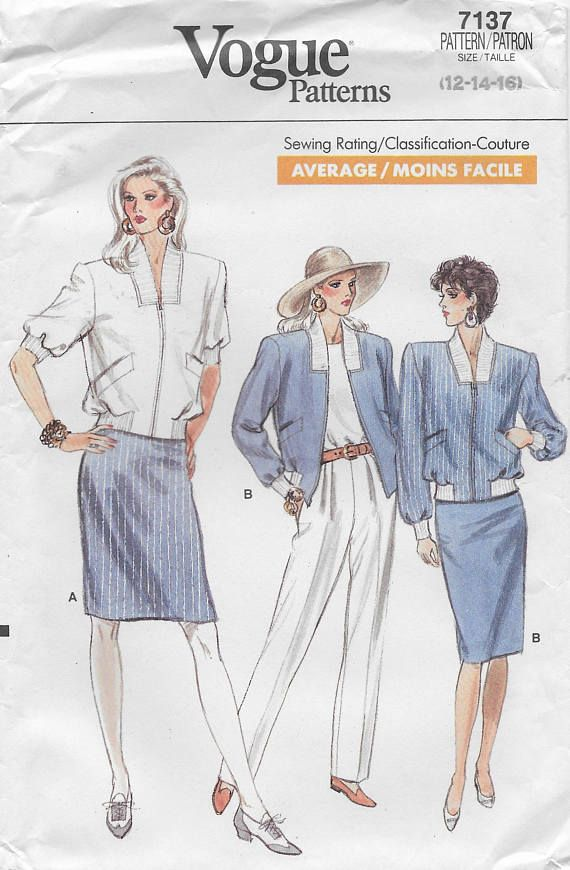 Vogue 7137 Misses\' 80s Petite Jacket, Skirt and Pants Sewing Pattern ...