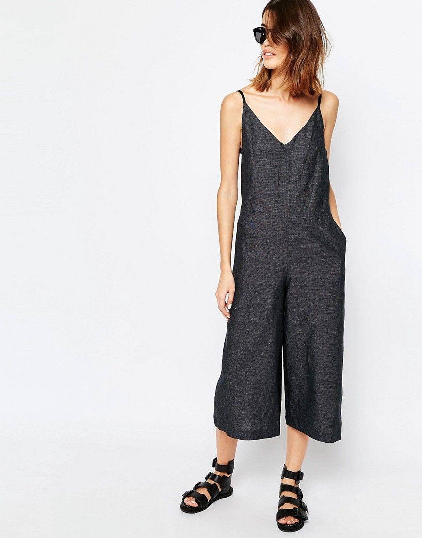 417b7d33de46 Image 4 of Warehouse Premium Linen Mix Wide Leg Jumpsuit