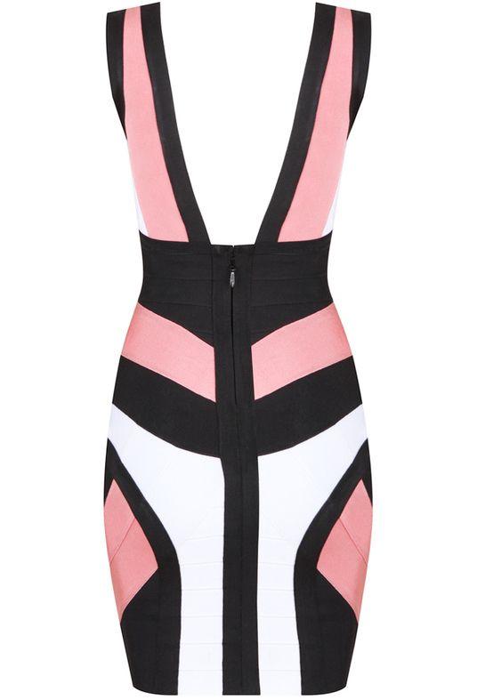 Black White Deep V Neck Body Conscious Dress