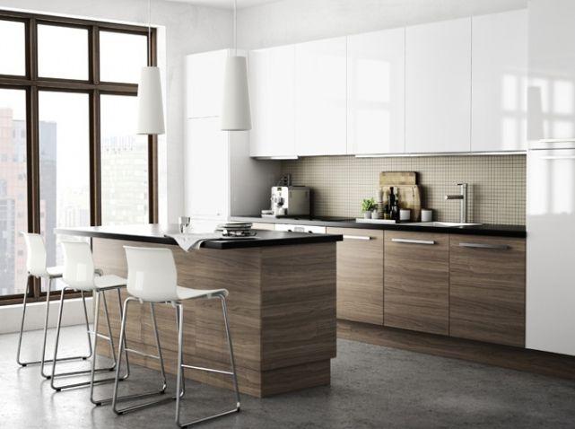 cuisine americaine ikea bois blanc design - Cuisine Avec Bar Americain