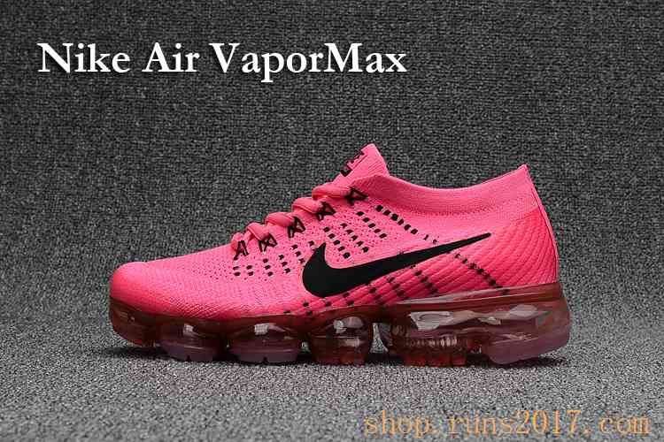 bb6730b4924 New Coming Nike Air VaporMax 2018 Flyknit Pink Black Tick Women