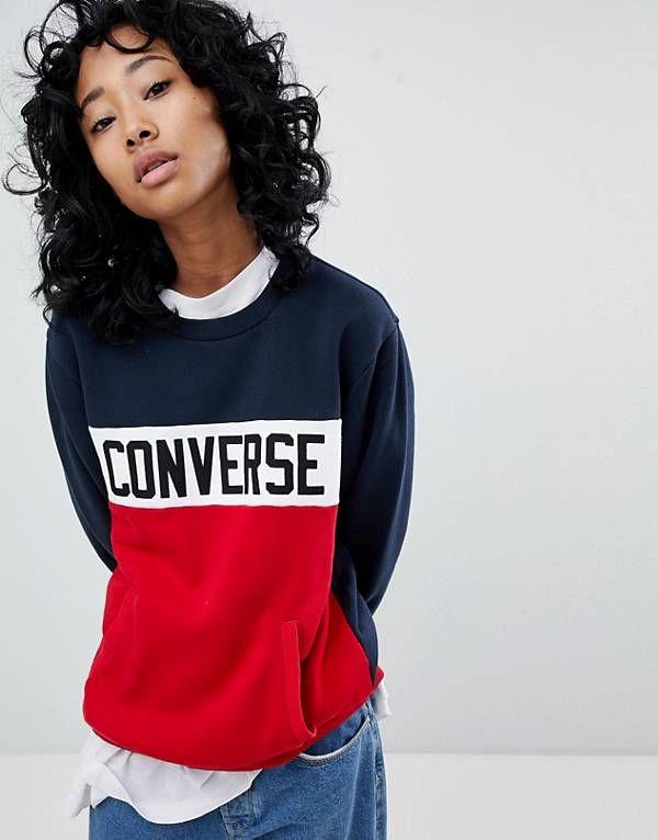 Colorblock Sweatshirt With Chest Branding - Black Converse Fast Express Deals Online Geniue Stockist Cheap Online Cheap Best Sale Wholesale Price Online C5JSBu