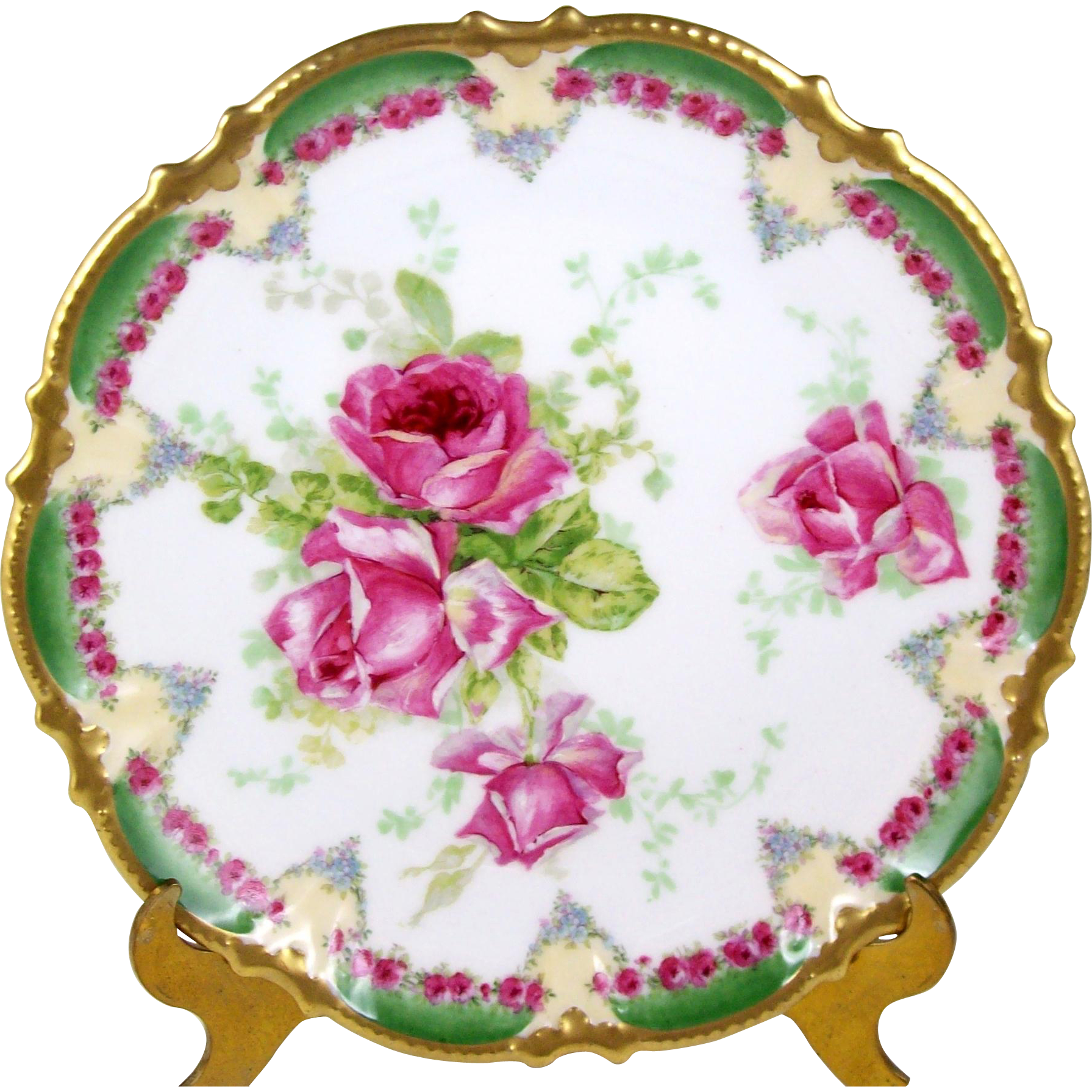 Antique Coronet Limoges Plate Pink Roses Green Border Tiny Floral ...