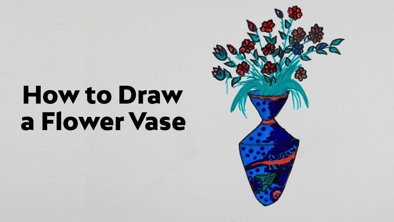How To Draw Flower Vase Step By Step Easy Flower Drawing Easy Drawings Drawings