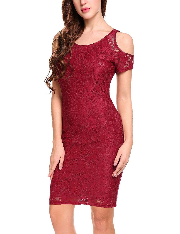 Meaneor women cold shoulder lace dress elegant bodycon midi party
