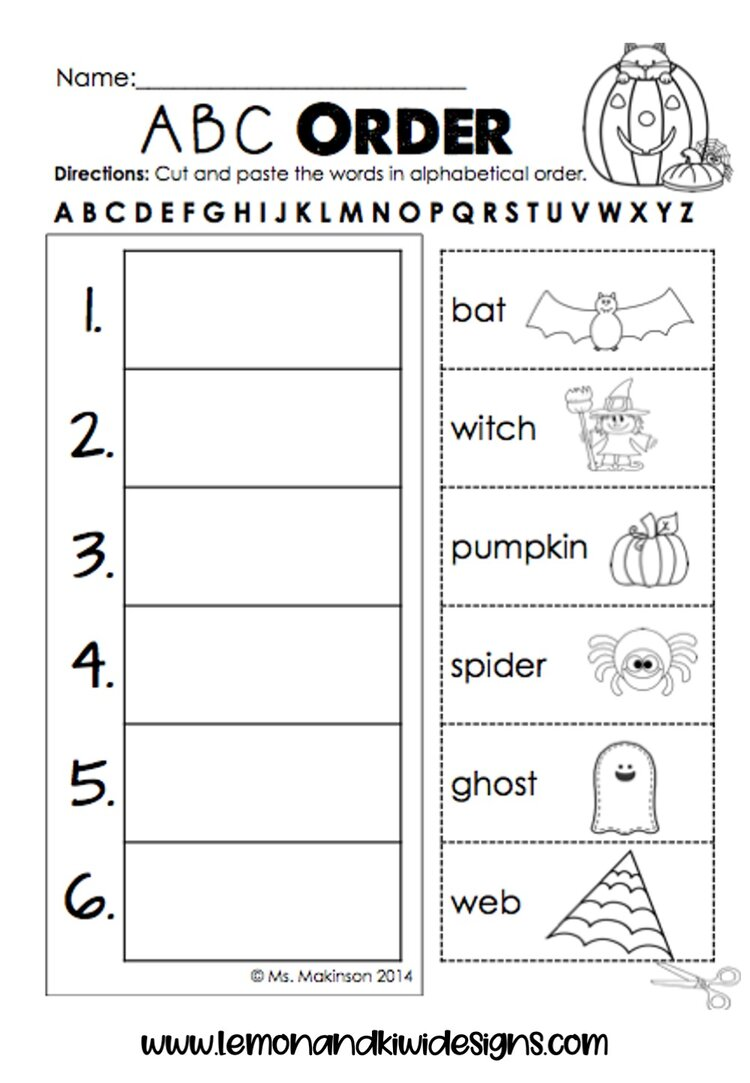 Free Halloween Literacy Worksheets for Preschoolers — Lemon \u0026 Kiwi Designs    First grade [ 1083 x 750 Pixel ]