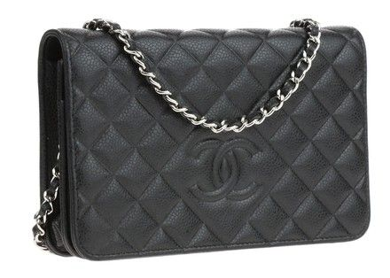 9e15f4b69ec8 Black Caviar Leather Wallet on Chain Cross Body Bag