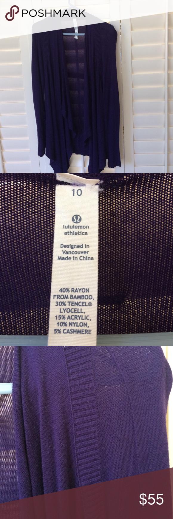 Lululemon purple cardigan looks big sleeve size 10 | Dark purple ...