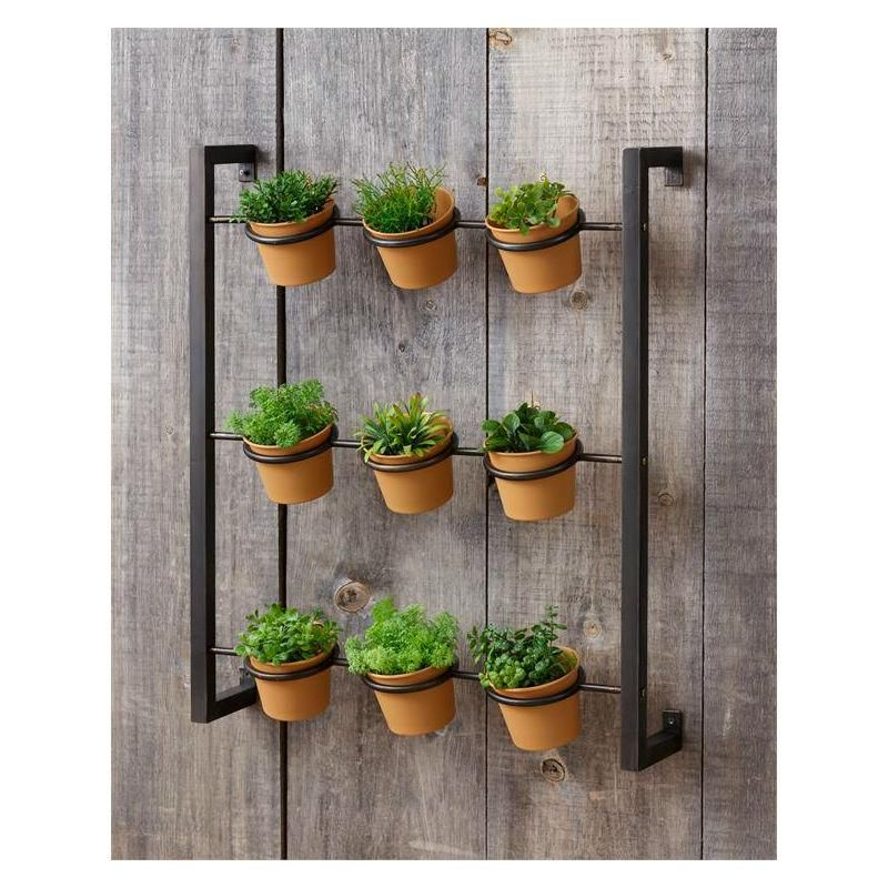 Industrial Wall Mounted Herb Planter Vertical Garden Diy Vertical Herb Garden Herb Wall