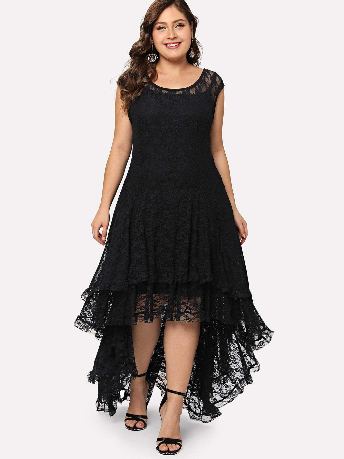 Plus Dip Hem Layered Floral Lace Dress – Fashion Madness 85786ec8c173