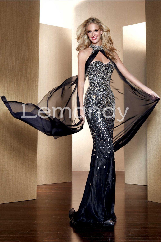 Top designer sexy mermaid rhinestones chiffon evening gown formal