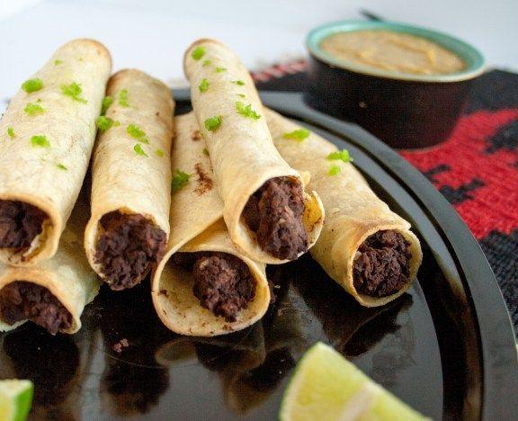 Bean Taquitos with Vegan Nacho Cheese Sauce