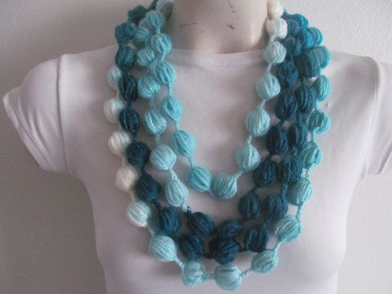 Puff Stitch Bubble Scarf Necklace In Turquoise by zahraknitting, $14.90